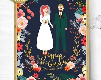 Custom Wedding portrait - Unique wedding gift - Personalized Wedding Gift - Gift for her - Wedding illustration - Wedding - Couple portrait