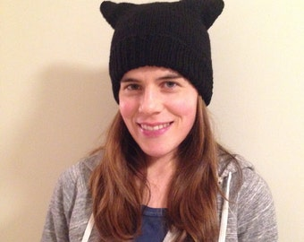READY TO SHIP pink pussy hat in black 100% merino wool
