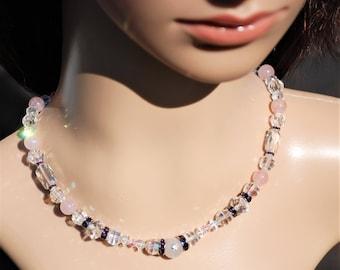 Crystal Rose Quartz Gemstone Beaded choker necklace Set Beaded Crystal Gemstone jewelry Swarovski jewelry