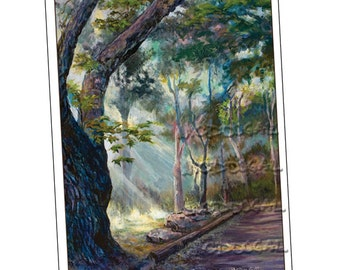 5x7 greeting card: Creek Road Hobbit Path