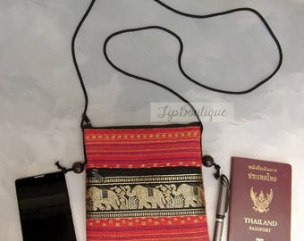 Small Mini Travel Bag Passport Money Cell Phone Crossbody Neck Pouch Sling Zipper 2 Compartments Elephant Ethnic Cotton Fabric Red P3