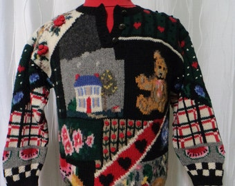 Vintage 80s, 90s Sweater, Wool Sweater (Women's Medium), Americana Sweater, Watermelon, Teddy Bear, Folk Art Sweater, Eagle's Eye Sweater