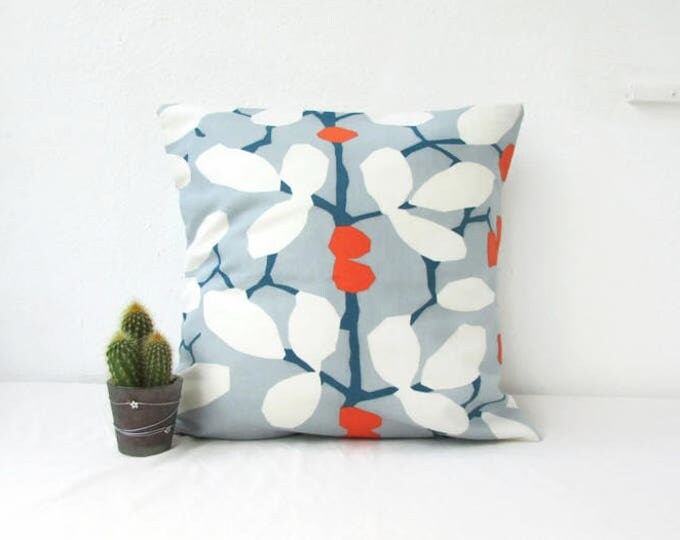 Blue cushion cover, leaf print pillow cover, blue and orange, modern print cushion, British designer Romo linen fabric, handmade in the UK