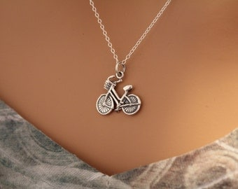 Sterling Silver Bike Charm Necklace, Realistic Bike Charm Necklace, Bicycle Pendant Necklace, Bike Necklace, Silver Bicycle Necklace