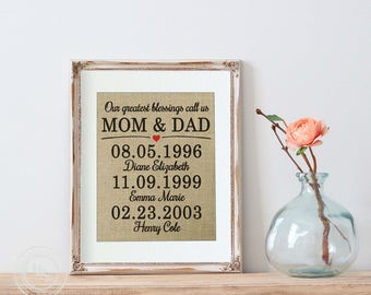 Gift for Parents Gift, Our Greatest Blessings Call Us Mom and Dad, Anniversary Gift from Kids, Parents Anniversary Parents, 50th Anniversary