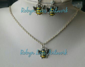 Small Yellow & Black Wasp Bee Hornet Charm Necklace and/or Earrings Set on Silver Chain or Black Cord; Earring Hooks or Leverbacks. Nature