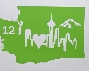 Washington State Decal with seattle skyline, Mt. Rainier and 12