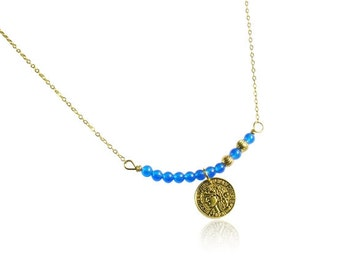 Deep blue jade necklace, Gifts for mom, Antique gold coin necklace, Blue gemstone bar pendant necklace, Vintage gold necklace for women