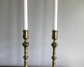 Brass square bass candle stick holders