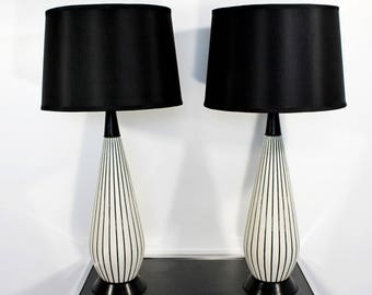 Mid Century Modern Pair of Black & White Pinstripe Ceramic Table Lamps
