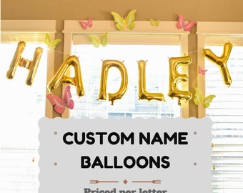 Custom Name Balloons in Gold, mini 16 inch balloons Customize Any Name or Statement Custom Letter Balloons