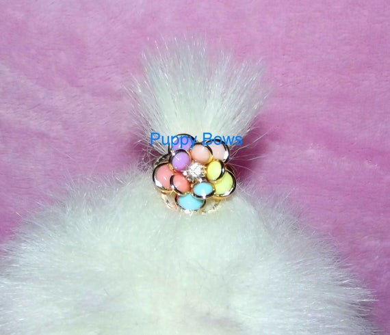 Puppy Bows ~tiny GIRLS 10 petal pastel GOLD RHINESTONE  dog bow  pet hair clip barrette