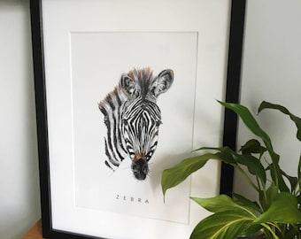 Zebra Print - Wall Art - Black and white Nursery print - modern art - kids room - Africa- Baby shower-animal print-Baby Gift - modern
