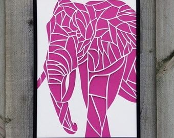 Elephant Paper Cut (Other Colours Available)