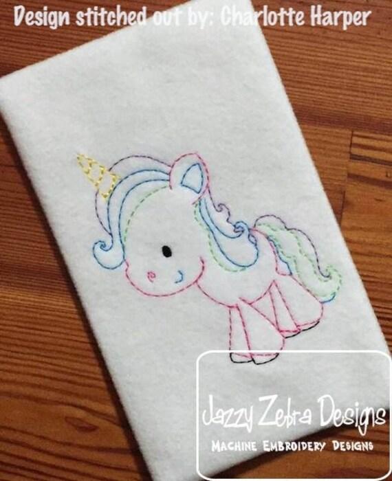 Unicorn color work embroidery design - Unicorn embroidery design - girl embroidery design - Unicorn red work embroidery design - vintage