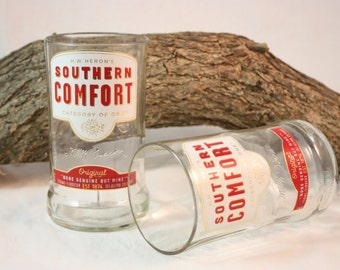 Drinking Glass from Upcycled Southern Comfort Liquor Bottle, Clear Liquor Bottle Glasses, Set of 2