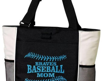 BASEBALL MOM Tote Bag. Baseball Tote. Baseball Bag. Baseball Mom Tote. Baseball Mom Bag. Custom Baseball Tote. Glitter Baseball Tote.
