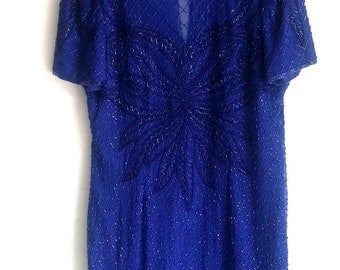 1980's Papell Boutique Evening Beaded Dress