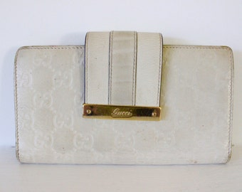 Gucci wallet genuine leather real designer purse ladies white VINTAGE collectors