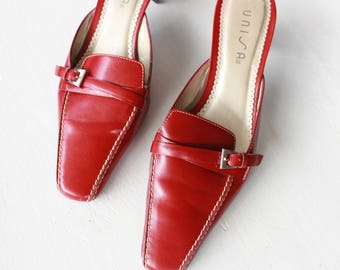 Size US 5/EU 35-36/UK 3 | Genuine Leather Red Heeled Mules with Buckle