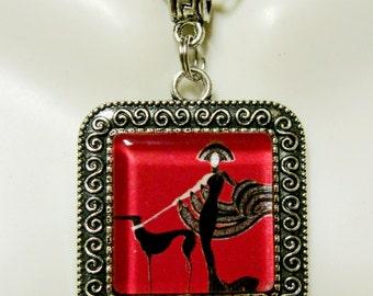 Art deco greyhound pendant with chain - DAP02-030