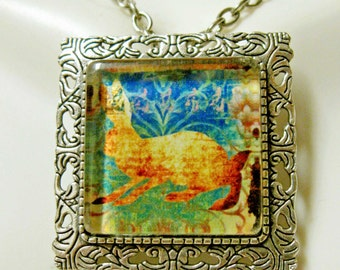Rabbit convertible pendant or brooch with chain - WAP35-006