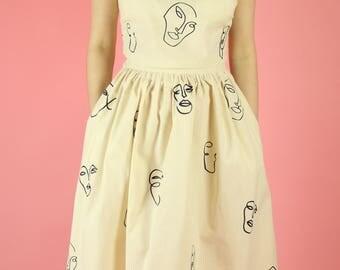 Raw Canvas Faces Print Full Midi Skirt