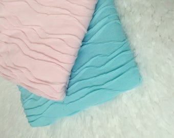 Beautiful Stretch Knit Wavy Wrap,  2 COLORS,  Blue or Pink, Newborn Photo Prop, Pick 1 or 2, Stretch Wrap, Swaddle Wrap, Layering Fabric.