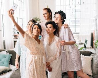 Bridesmaid Robe - Bridal Robe - Floral Print - Gold and Yellow - Bridesmaid Gift - Getting Ready Robe