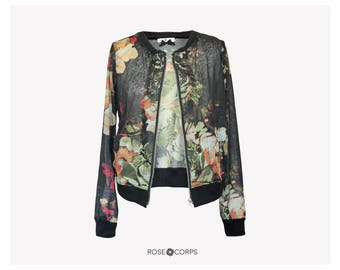Lace bomber jacket with metal zipper