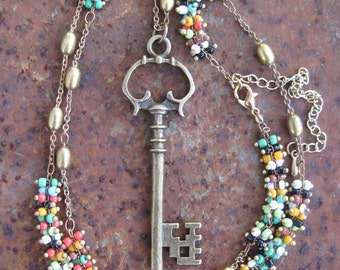 Victorian Garden Cottage Key on Multi-Colored Beaded Brass Chain