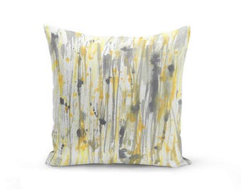Throw Pillow Cover, Watercolor print, Yellow Grey Decorative Pillow, Cushion Cover, Home Decor, Couch Pillow Cover