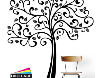 Large 6FT Curly Tree Wall Decal - Digiflare Graphics - FREE SHIPPING!