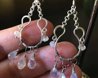 Moonstone Earrings, Sterling Silver Wire, Rainbow Moonstones, Oxidized Silver