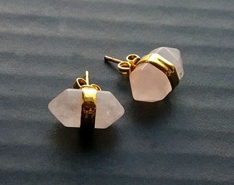 Rose Quartz Earrings Stone Stud Earrings Pink Earrings Rose Quartz Studs Stone Studs Crystal Earrings Tiny Crystal Studs Gold Rose Quartz