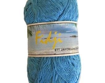 Medium blue yarn, cotton and acrylic, cotton mix yarn, DK weight,  destash, machine washable, slubby yarn, soft, other colors, discontinued