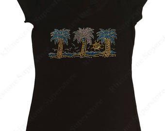 """Women's Rhinestud T-Shirt """" Sunshine & Palm Trees """" in S, M, L, XL, 2X, 3X"""