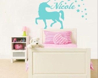 Unicorn Wall Decal Name Sticker Personalized Custom Decals Vinyl Art Home  Decor Girls Bedroom Decor Nursery