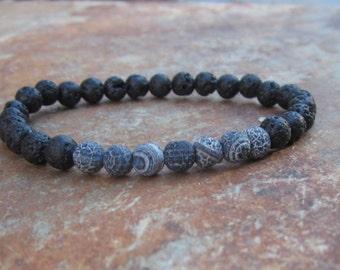 beaded bracelet bohemian bracelet Lava stone bracelet mens bracelet black agate stretch bracelet gift for him bracelet women's bracelet
