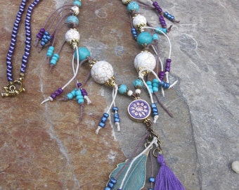 Bohemian Beaded multi tassel necklace artisan turquoise purple pearl necklace gypsy necklace boho accessories Lavish Lucy Design patina leaf