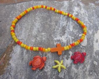 beaded anklet starfish anklet cross bracelet turtle anklet bohemian stretch ankle bracelet yoga surfer mens women's anklet  ankle bracelet
