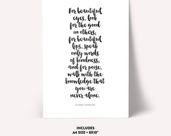 For beautiful eyes, look for the good in others, Motivational Quote,Printable Script,Inspirational Art,Printable Art,MOTIVATIONAL