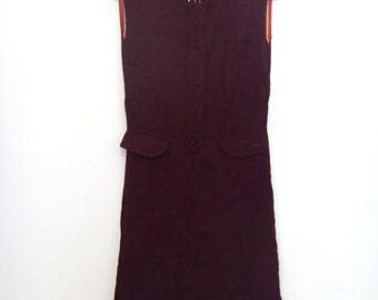 Burgundy Tailored Winter Sleeveless Midi Dress