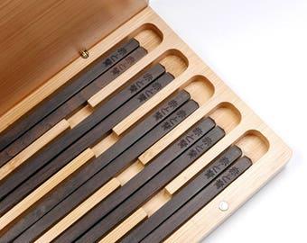 5 Pairs Handmade Natural Ebony Wood Chopsticks with Custom Engraving, Sushi Chopsticks, Japanese Cuisine Chopsticks, Healthy Chopsticks