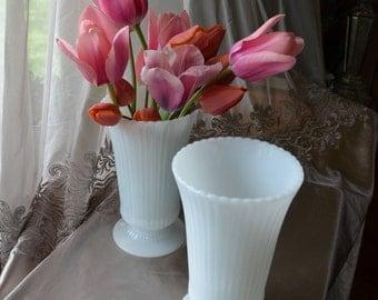 Matching Set of 2 White E. O. Brody Flower Vases