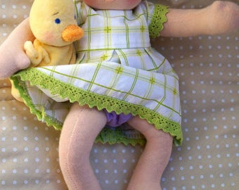 Made to order. Waldorf Baby Doll. Cloth Waldorf doll - 12.99 inch.Waldorf Inspired, Steiner Doll, Organic Natural Doll, OOAK.