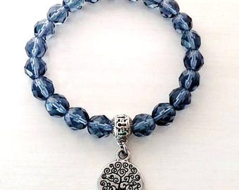 Tree of Life Montana Blue Glass Beaded Stretch Relaxation Charm Bracelet