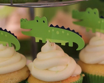 Alligator Cupcake Toppers Set of 12 – Green and Navy – Swamp Gator Party - Alligator Baby Shower