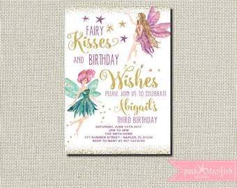 Fairy Invitation, Fairy Birthday Invitation, Princess Fairy Invitation, Garden Party Invitation, Fairies Birthday Party, Fairies Invitation