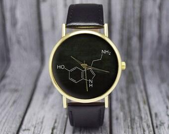 Serotonin Molecule | Hormone Molecules | Science | Leather Watch | Women's Watch | Men's Watch | Birthday | Wedding | Gift Ideas | Geekery